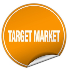 Target market round orange sticker isolated on vector