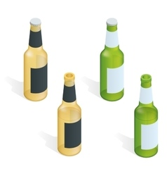 Bottle of beer with drops flat 3d vector