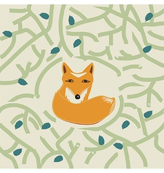 a cute little fox in a forest vector image