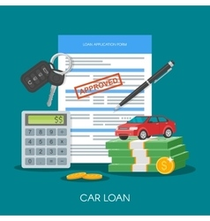 Approved car loan buying vector