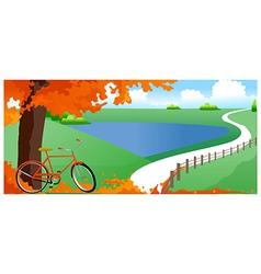 Bicycle under tree vector image