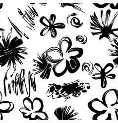 Black and white hand drawn seamless pattern vector image vector image