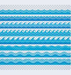 blue transparent wave patterns vector image