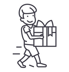 boy carring gift line icon sign vector image vector image