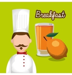 Breakfast man chef orange juice fruit vitamin vector