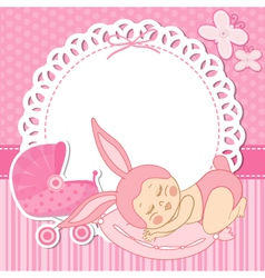 card with the birth of a child girl in bunny vector image