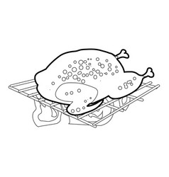 Chiken cooked on a barbecue icon outline vector