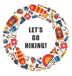 Circular of camping and hiking vector