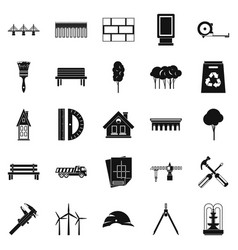 Composition icons set simple style vector