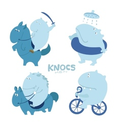Cute character troll hippo vector