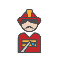 fireman icon with uniform on white background vector image
