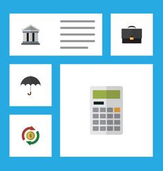 Flat icon incoming set of portfolio parasol vector