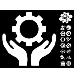 Gear maintenance hands icon with tools vector