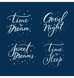 Good night lettering sign set vector