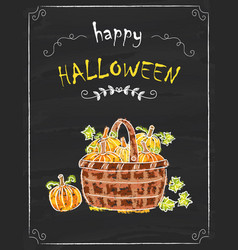 Halloween pumkins doodle on the black board vector