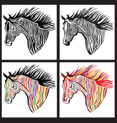 Horse head paint set wild animal sign vector