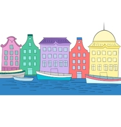 Houses on channel color vector
