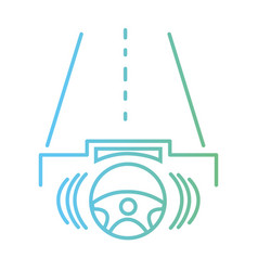 line steering wheel futuristic car in the road vector image