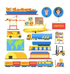 Logistic elements colorful infographic vector
