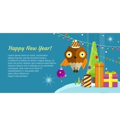 Merry christmas conceptual flat style banner vector