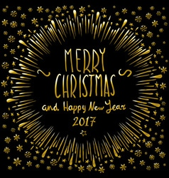 Merry Christmas gold glittering lettering design vector image