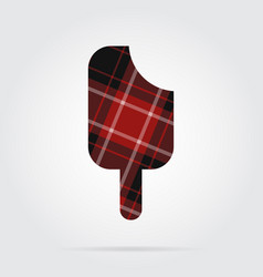 Red black tartan isolated icon - stick ice cream vector