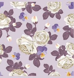 Retro floral seamless pattern white roses with vector