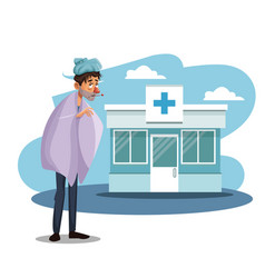 Scene sickness people with cold in to the hospital vector