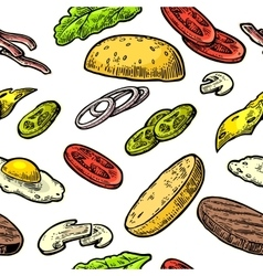 Seamless pattern ingredients burger include cutlet vector