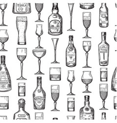 seamless pattern with alcoholic drinking glasses vector image vector image
