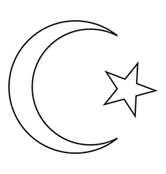 Star and crescent icon vector