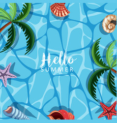 Summer theme with seashells and ocean vector