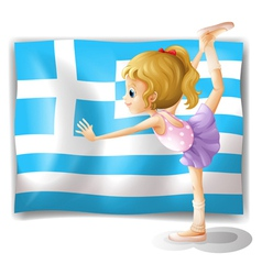 The flag of greece with a ballet dancer vector