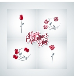 Valentines day rose set design background vector