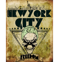 vintage skull tee graphic design new york city vector image