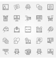 Vlog icons set vector