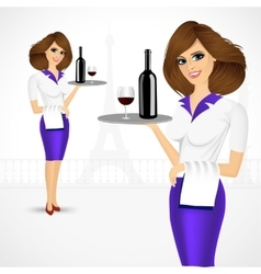waitress holding tray with bottle of wine vector image vector image