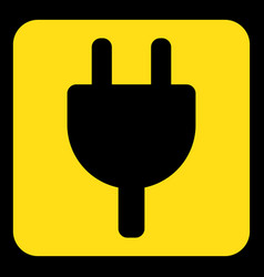 Yellow black sign - electrical plug symbol icon vector