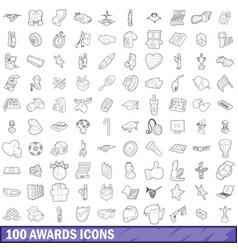 100 award icons set outline style vector