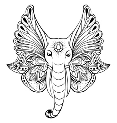 Elephant with wings instead ears vector