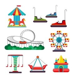 Amusement park ride set of attractions vector
