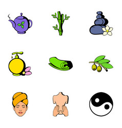 Medical spa icons set cartoon style vector