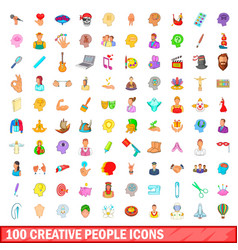 100 creative people icons set cartoon style vector