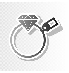 Diamond sign with tag  new year blackish vector