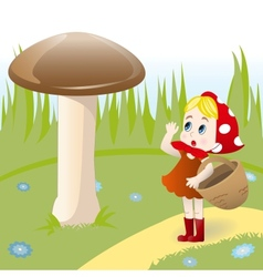 Mushroom and girl vector