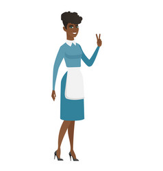 African cleaner showing victory gesture vector