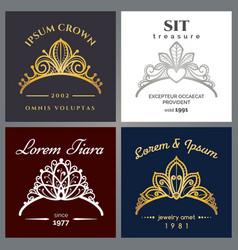 tiara luxury logo set vector image