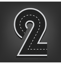 Two number road font vector