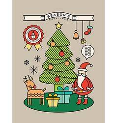 Colorful Christmas tree Santa Claus cartoon vector image