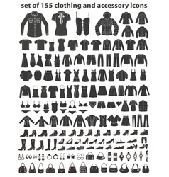 Set of 155 icons clothing shoes and accessories vector image